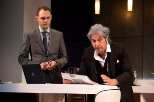 """Christopher Denham and Al Pacino in a scene from """"China Doll"""" on Broadway at the Schoenfeld Theatre. www.ChinaDollBroadway.com. Photo by Jeremy Daniel."""